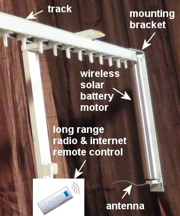 wireless remote control drapery motor kit, rechargeable battery operated with solar option