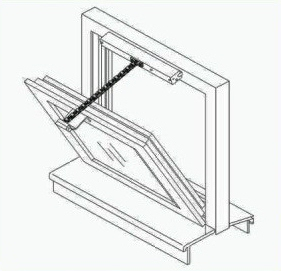 motorized window opener for hopper window